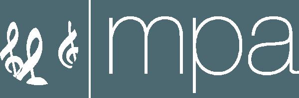 White MPA treble clef logo